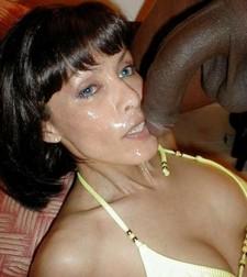 Amazing dark-skinned brunette in incredible deepthroat jizzed photo.