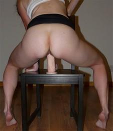 Horny wife riding her new dildo