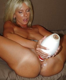 Amazing pussy dildo pic with gorgeous blonde cougar.