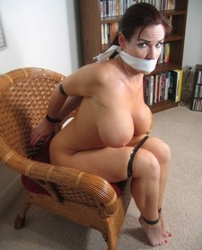 Amazing bondage photo with a sexy big tits.