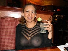 SDinner out with the hotwife and her braless tits in a very see through dress!.