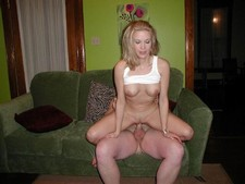 Homemade porn pictures of cute blonde wife riding hubby's pecker