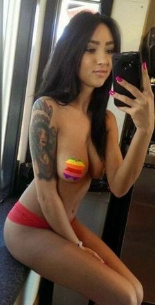 Hot pussy selfshot photo with a fabulous asian big boobs.