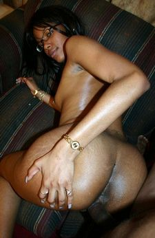 Smiley ebony girlfriend during doggy fuck