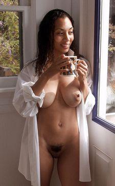 Enjoying coffee in a breakfast nook.