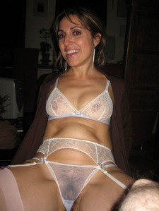 Perverse wife in transparent lingerie.