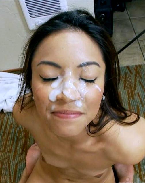 Cute spanish asian big facial cum load.