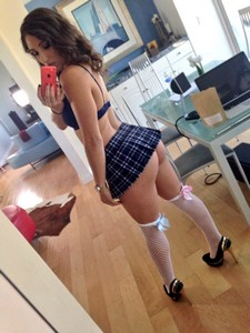 Amazing amateur selfshot of horny coed with sexy ass and real breasts