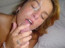 Cumming on my wife's beautiful face