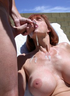 Homemade porn - redhead beauty gets hot cum on her face and lips