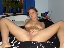 Cute big titted wifey spreading her legs and pussy lips