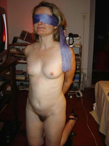 Blindfolded mature amateur.