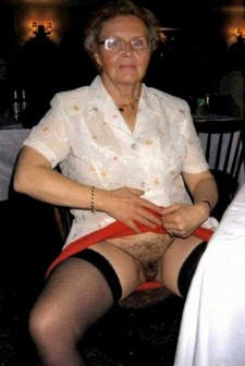 Filthy granny shows her old hairy pussy on public