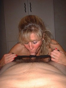 Older woman sucking her lover's cock so hard