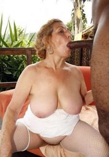 Fat granny with big bra buddies sucks a huge cock.