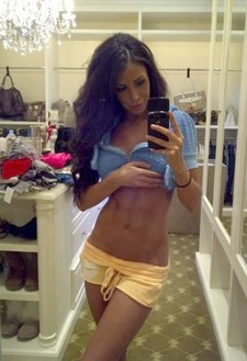 Skinny brunette selfshot her big tits and great handsome booty