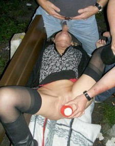 Slutty MILF sex in public