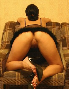 Adorable brunette wife showing her beautiful crack and ass