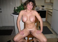 Cheerful smiling mom showing her great body... Her nice huge boobs and hairy cunt..