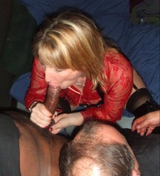Mature wife sucking huge black cock of another's man