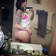 Perverse milf selfie in underwear her tattoo butt body and natural tits