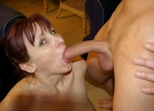 Homemade porn pictures - mature redhead sucking my cock so great!