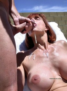 Gorgeous mature tgirl sprayed with jizz