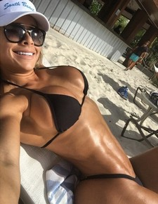 Sexy and very hot fitness girl selfshot her perfect body big fake tits and big fit booty