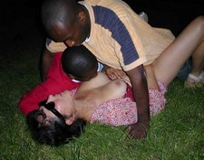 Hot blonde MILF has a threesome at the park