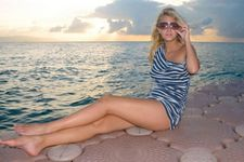 Latin blonde likes to watch sunset on the sea side after hot sex with black fellow
