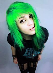 Sexy Green Hair Blowjob and Titsfuck, Long Hair, Hair