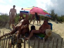 Dozens strangers men pour blonde on beach Cap dAgde