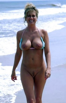 Sexy Mature Blonde Walking On Nude Beach
