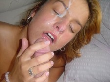 Massive cum on my wife sister face.