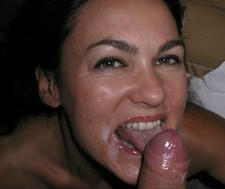 Huge facial cumshot after the hot blowjob, private homemade porn photo