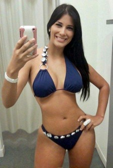 Sweet hot brunette in sexy bikini selfshot her big tits and great big booty