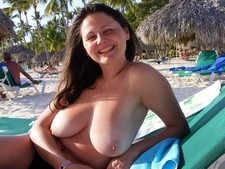 Sexy Asian Wife with Big Tits Nude on Beach